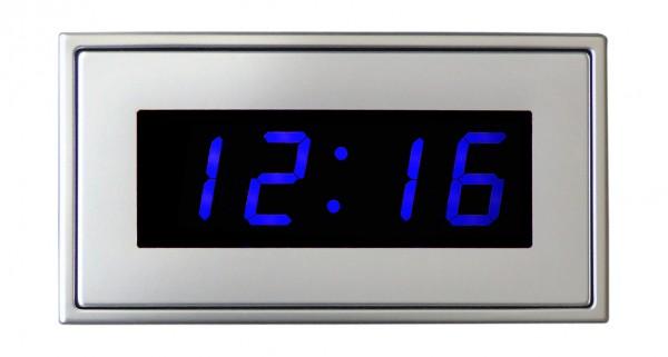 HT-25-B: LED-Einbau-Uhr in blau inkl. externer DCF-77 Antenne