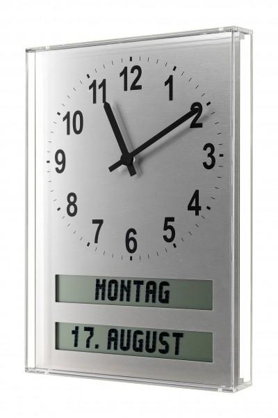 AMC-26-HC:große Wanduhr mit Plexiglas-Schutz und ausgeschriebenem Wochentag / Tagesabschnitt / Datum