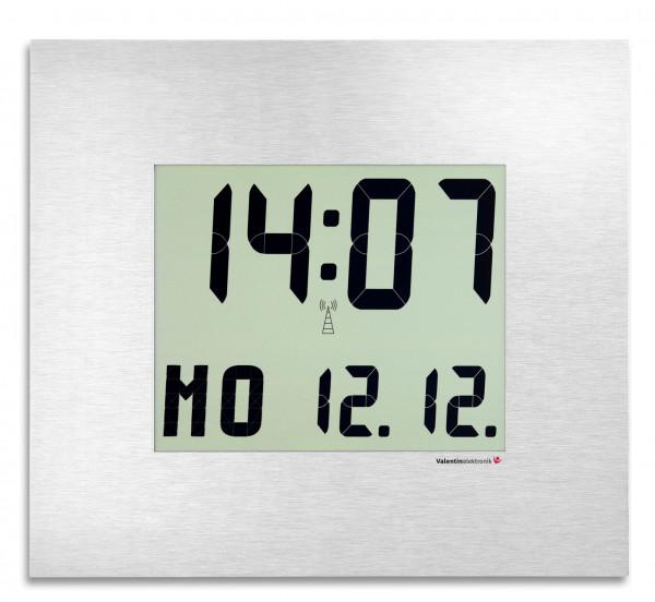 C-210-M: LCD-Wanduhr mit hochwertiger Alunox Frontblende, kabellos und funkgesteuert