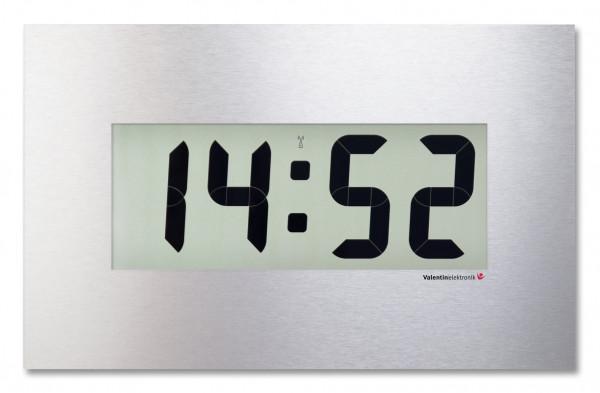 C-90-M: Große LCD-Digitaluhr mit hochwertiger Alunox Frontblende, kabellos & funkgesteuert