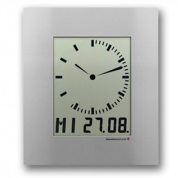 AC-150-M: LCD-Analogue-Digitalclock with digit ring for the seconds, radio-controlled