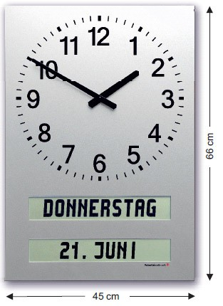 AMC-40-H: Large wall clock with fully written text for weekdays / day pars / date