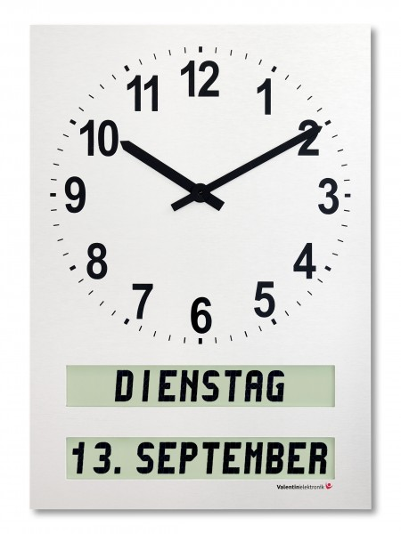 AMC-26-H: Medium-sized wall clock with fully written text for weekdays / dayparts / date