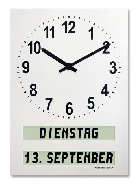 AMC-26-H: Mittelgroße Wanduhr mit ausgeschriebenem Wochentag / Tagesabschnitt / Datum