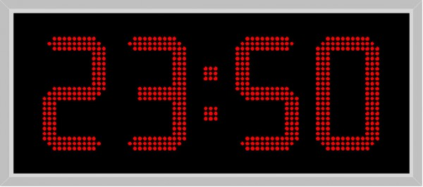 LA-250-D: double-sided LED outdoor clock in red