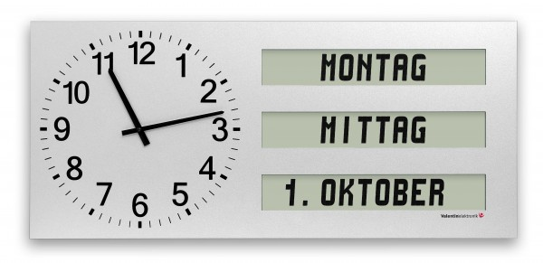 AMC-40-Q3: Large wall clock with fully written text for weekdays / dayparts / date