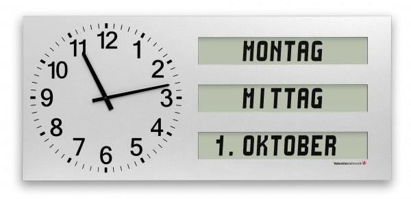AMC-40-Q3: Große Wanduhr mit ausgeschriebenem Wochentag / Tagesabschnitt / Datum