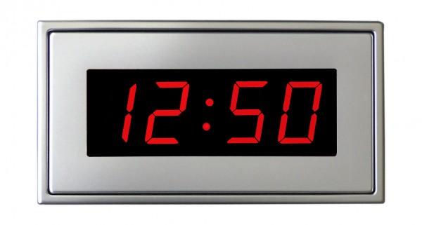HT-25-R: LED-Einbau-Uhr in rot inkl. externer DCF-77 Antenne